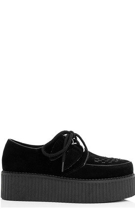 MATILDA Flat Chunky Creeper Lace Up Platform Shoes - Black Suede Style by SpyLoveBuy