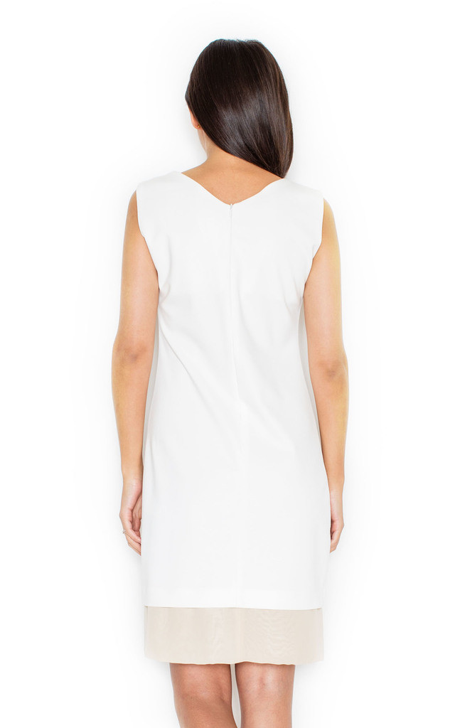 White and Cream Two Tone V Dress by KATRUS