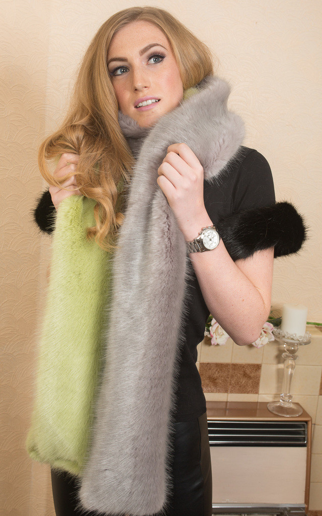 Lime Green & Grey Fluffy Stole by Daniela D'Amico