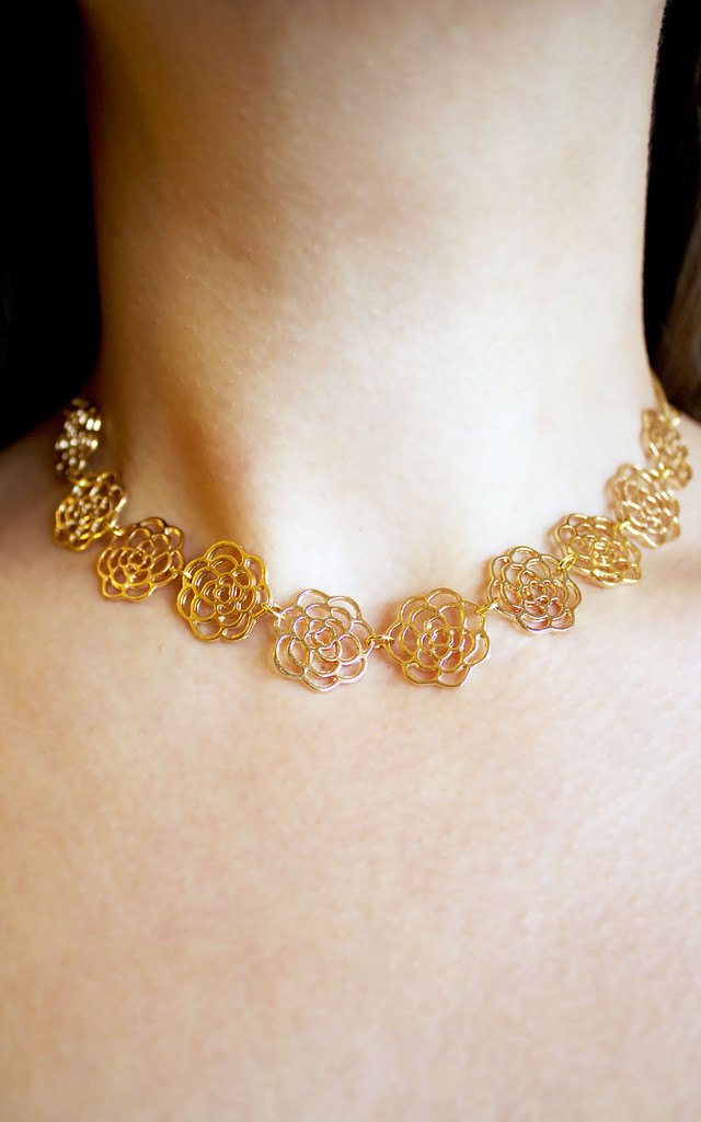 Filigree floral choker necklace by Terra Dea
