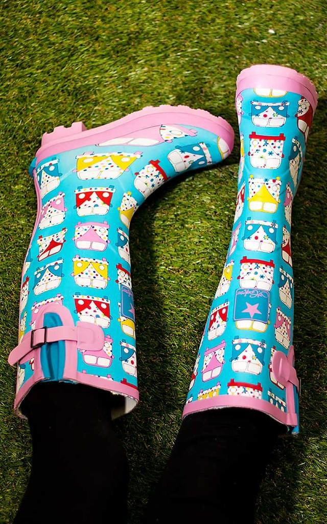 IGLOO Adjustable Buckle Flat Festival Wellies Rain Boots - Campervans by SpyLoveBuy