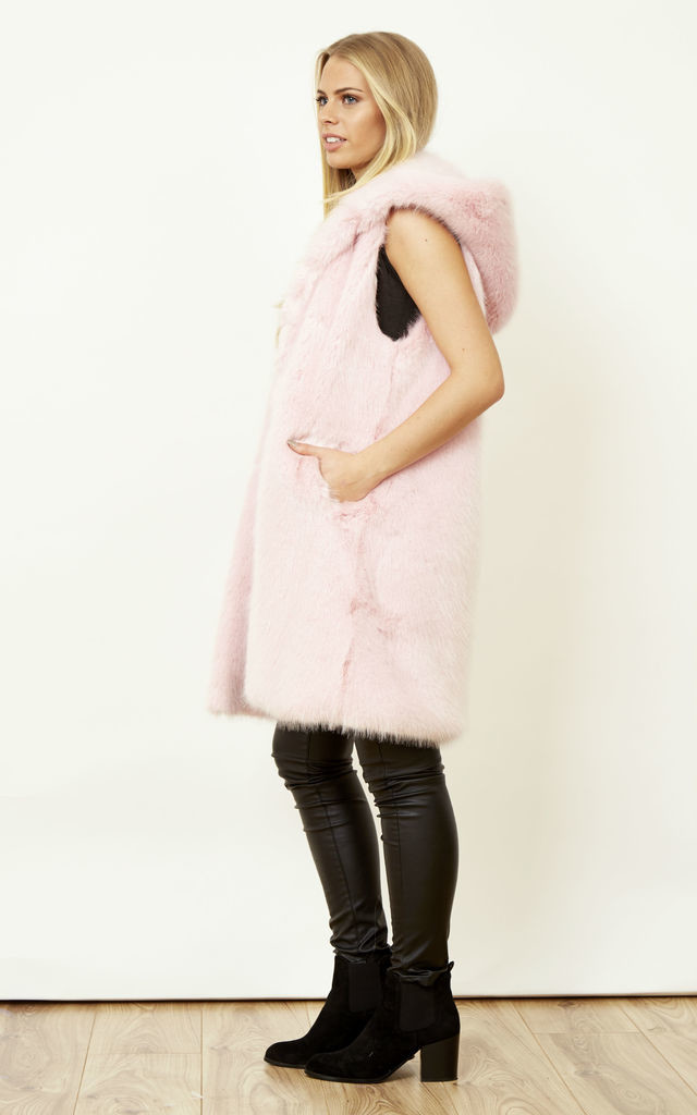 Lavachet Premium Strawberry Pink Faux Mink Hooded Gilet by Faux England