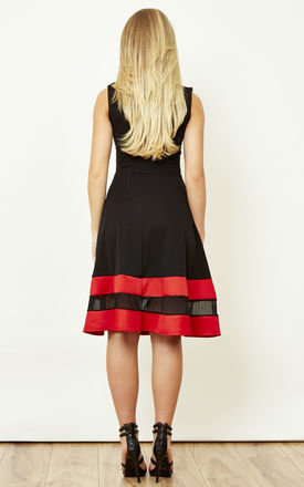 Black And Red Mesh Skater Dress by Lilah Rose