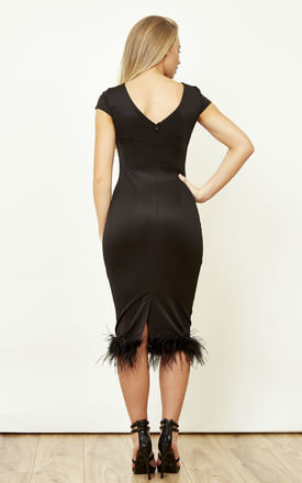 Black Feather Trim Midi Dress by Lilah Rose