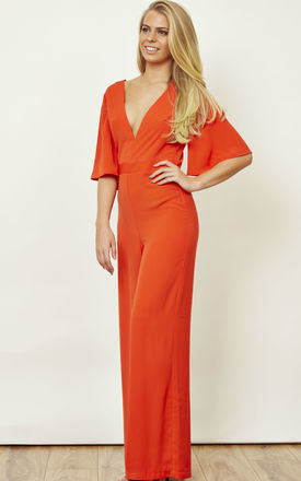 Red Fluted Sleeve Wide Leg Jumpsuit by Bella and Blue
