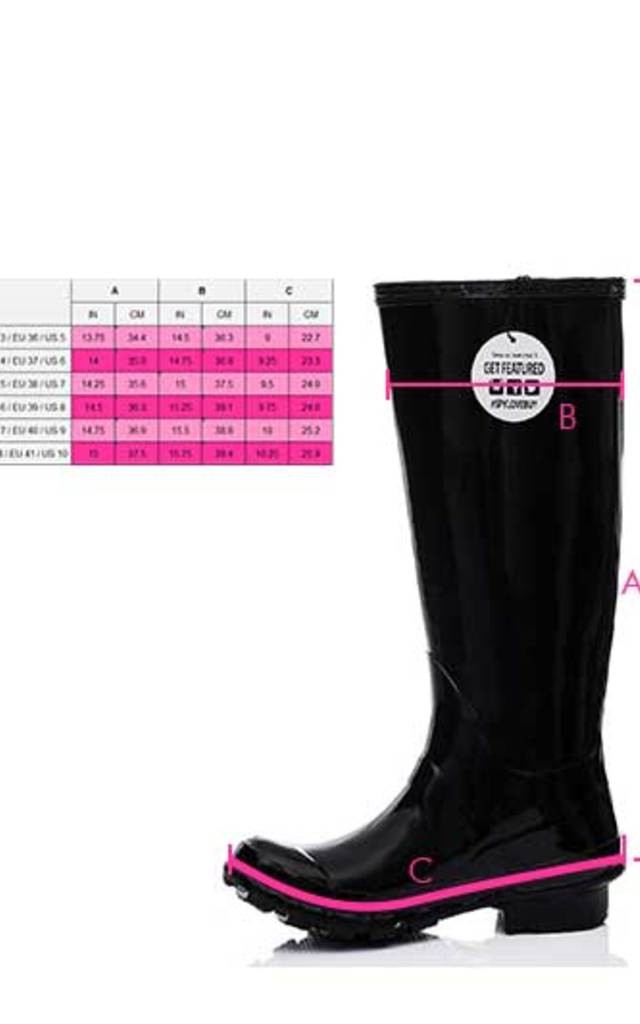 ARCTIC Adjustable Buckle Flat Festival Wellies Rain Boots - Black Gloss by SpyLoveBuy
