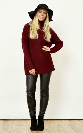 Wine high neck chunky knit jumper by VILA Product photo