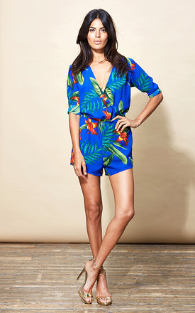 Tiago Playsuit in Blue Tropical by Dancing Leopard
