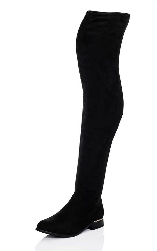 BARDOT Block Heel Over Knee Tall Boots - Black Suede Style by SpyLoveBuy