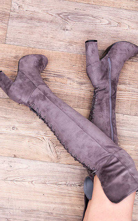 MAIDEN Lace Up Block Heel Over Knee Tall Boots - Grey Suede Style by SpyLoveBuy