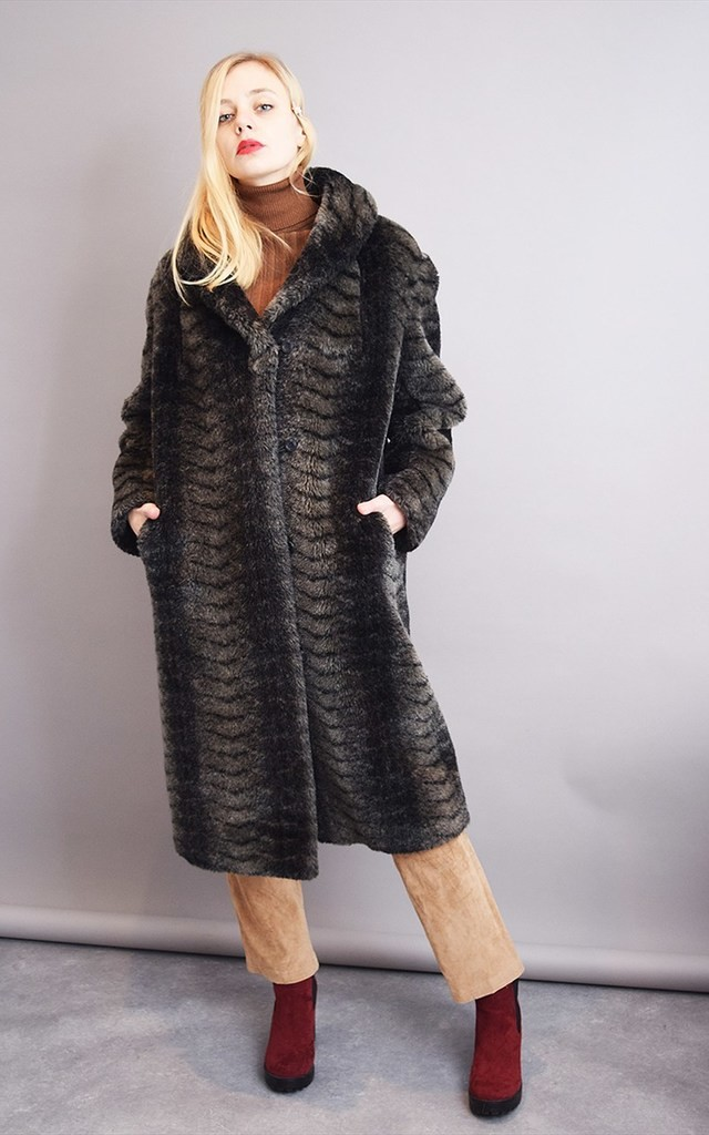 Vintage 80's retro oversized animal pattern faux fur coat by Lover