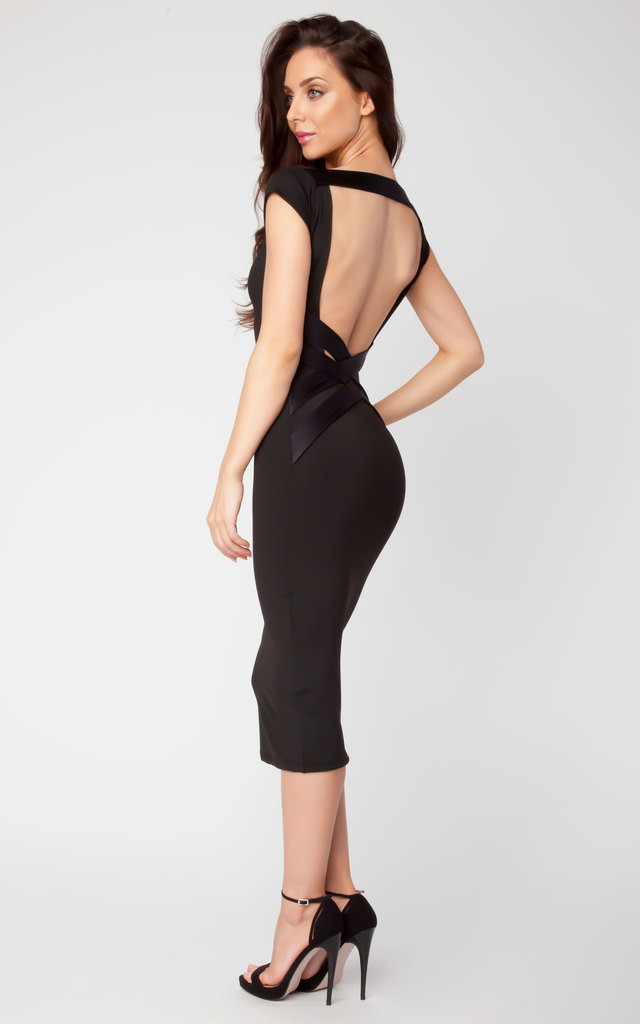 Quontum Black/Shine Criss Cross Strap Backless Midi Dress by Quontum