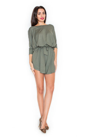 Olive green tie waist playsuit  by KATRUS Product photo