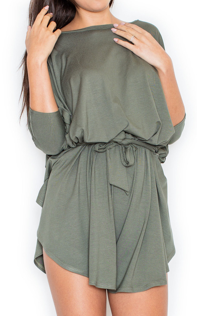 Olive Green Tie Waist Playsuit by KATRUS