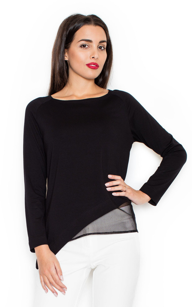 Black Asymmetric Top with Black Mesh underlay by KATRUS