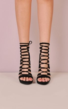 Cut Out Lace Up Open Toe Faux Suede Heels Black - SilkFred