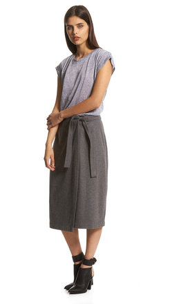 Grey tie waist wool skirt by Neon Rose Product photo