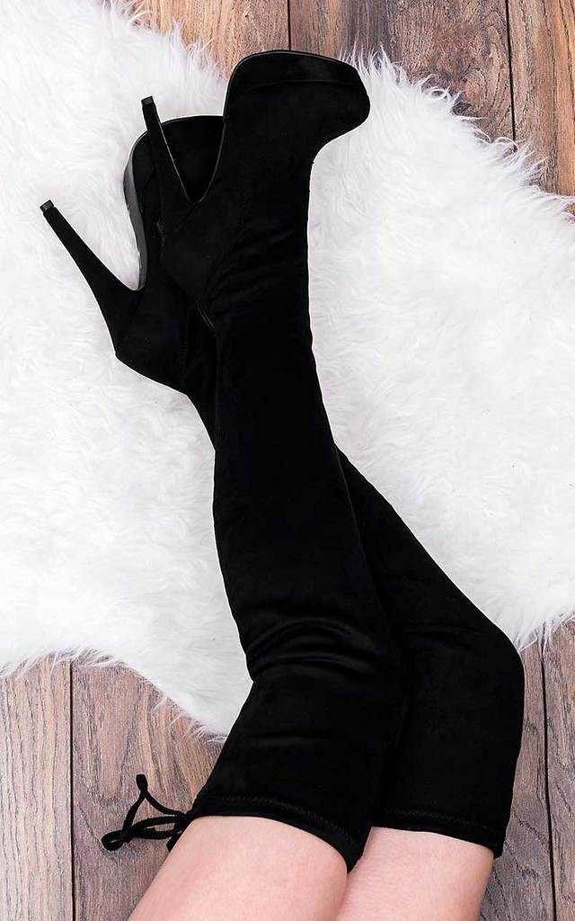 CLOSER Platform High Heel Stiletto Over Knee Tall Boots - Black Suede Style by SpyLoveBuy
