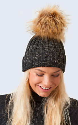 Sparkle Hat Black and Gold with Brown Faux Fur Pom Pom by Amelia Jane London