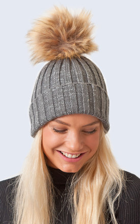 Sparkle Hat Grey and Silver with Brown Faux Fur Pom Pom by Amelia Jane London