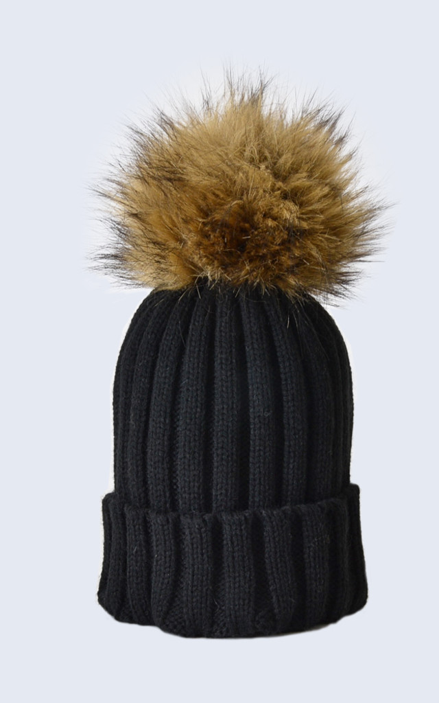 ... Black Hat with Brown Faux Fur Pom Pom by Amelia Jane London ... 5a81b3a92af