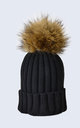 Black Hat with Brown Faux Fur Pom Pom by Amelia Jane London