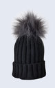 Black Hat with Grey Faux Fur Pom Pom by Amelia Jane London