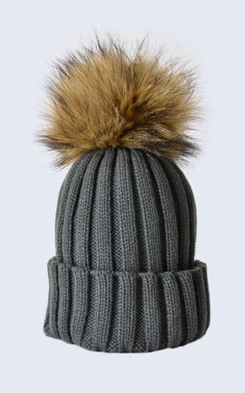 9f29803e64f Grey Hat With Brown Faux Fur Pom Pom