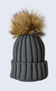 Grey Hat with Brown Faux Fur Pom Pom by Amelia Jane London