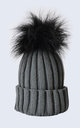 Grey Hat with Black Faux Fur Pom Pom by Amelia Jane London