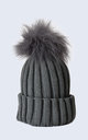 Grey Hat with Grey Faux Fur Pom Pom by Amelia Jane London