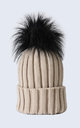 Oatmeal Hat with Black Faux Fur Pom Pom by Amelia Jane London