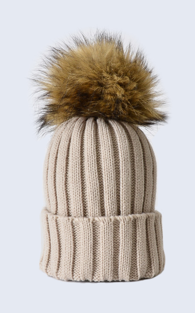 Oatmeal Hat with Brown Faux Fur Pom Pom by Amelia Jane London