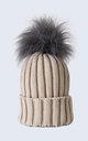 Oatmeal Hat with Grey Faux Fur Pom Pom by Amelia Jane London