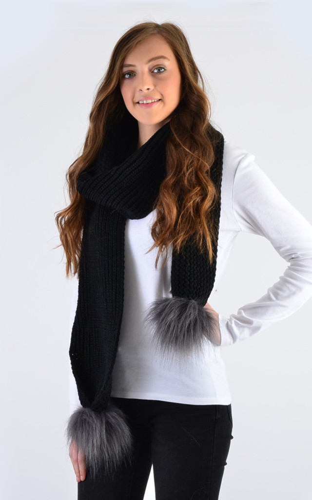 Black Scarf with Grey Faux Fur Pom Poms by Amelia Jane London