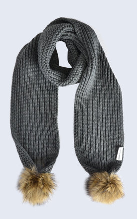 Grey scarf with brown faux fur pom poms by Amelia Jane London Product photo
