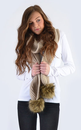 Oatmeal Scarf with Brown Faux Fur Pom Poms by Amelia Jane London