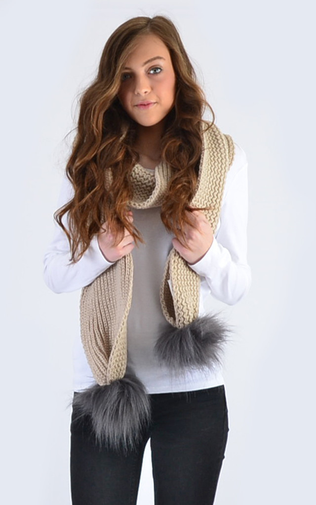 Oatmeal Scarf with Grey Faux Fur Pom Poms by Amelia Jane London