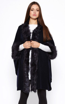 Navy faux fur trimmed cape by Jezzelle Product photo