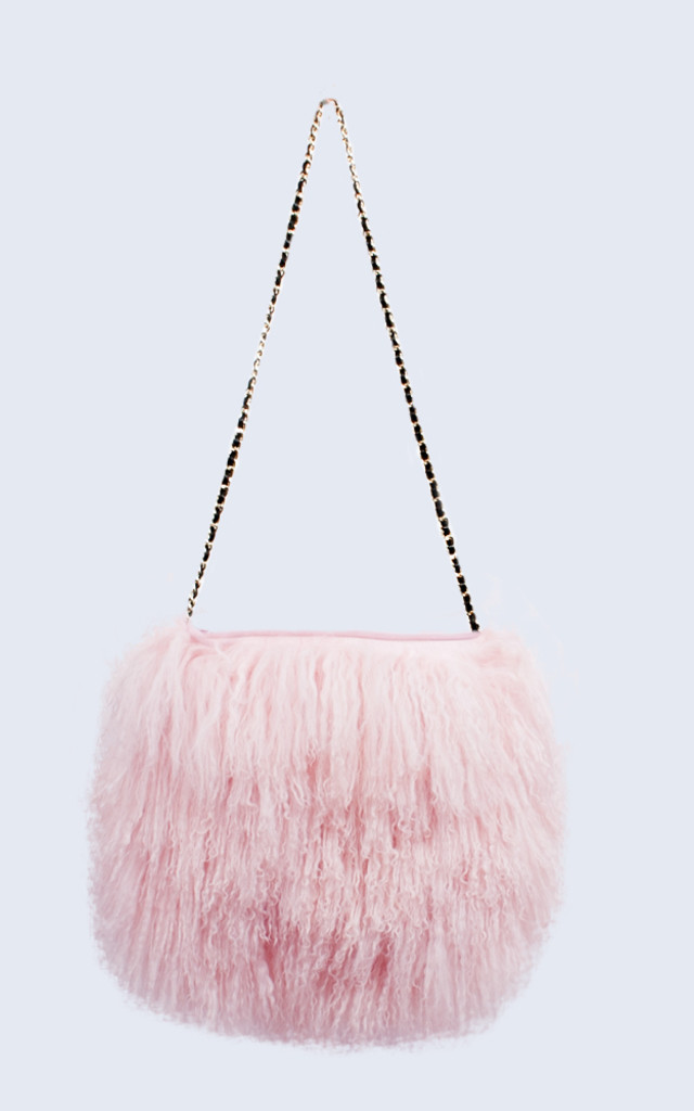 Mongolian Lambswool Bag Candy Pink by Amelia Jane London