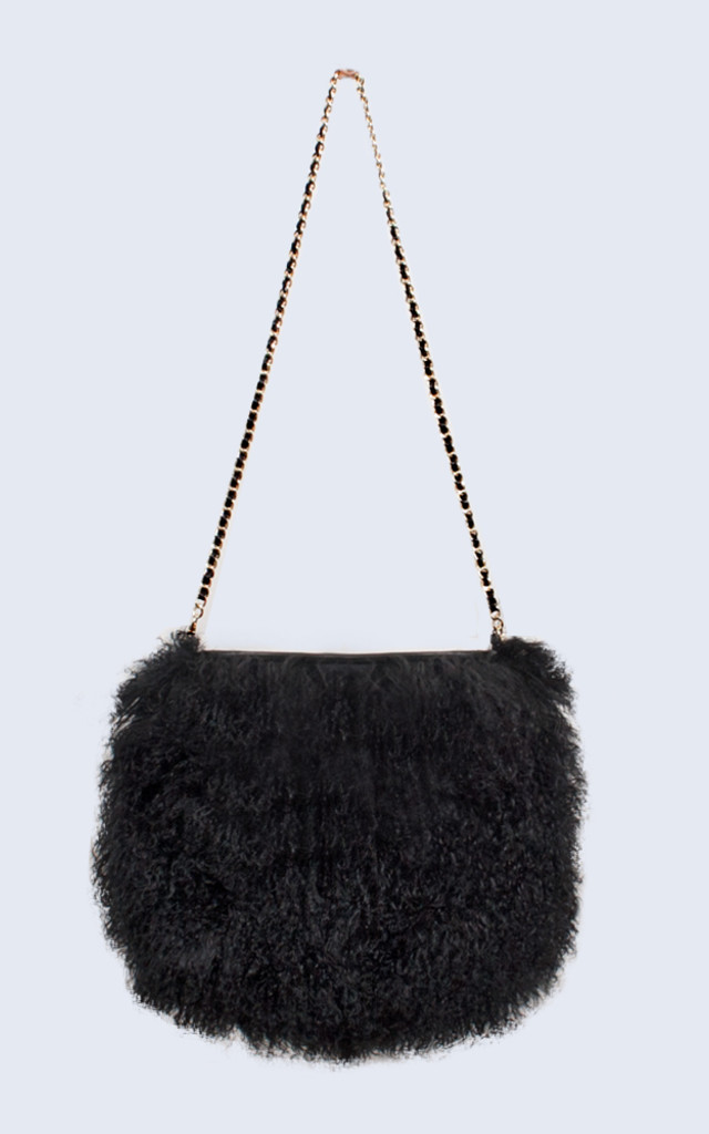 Mongolian Lambswool Bag Midnight Black by Amelia Jane London