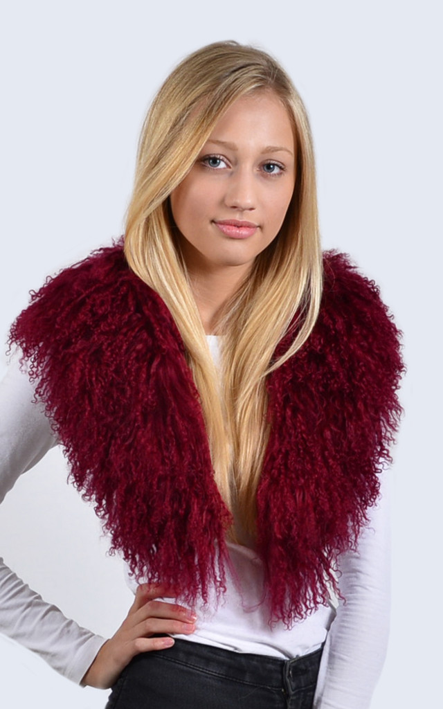 Mulled Burgundy Mongolian Lambswool Collar by Amelia Jane London