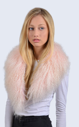 Candy Pink Mongolian Lambswool Collar by Amelia Jane London