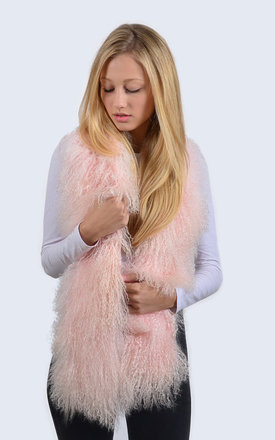 Candy Pink Mongolian Lambswool Scarf by Amelia Jane London