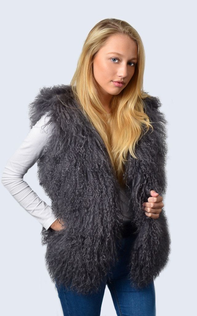 Clouded Grey Mongolian Lambswool Gilet by Amelia Jane London