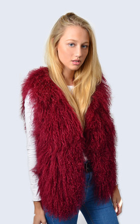 Mulled Burgundy Mongolian Lambswool Gilet by Amelia Jane London
