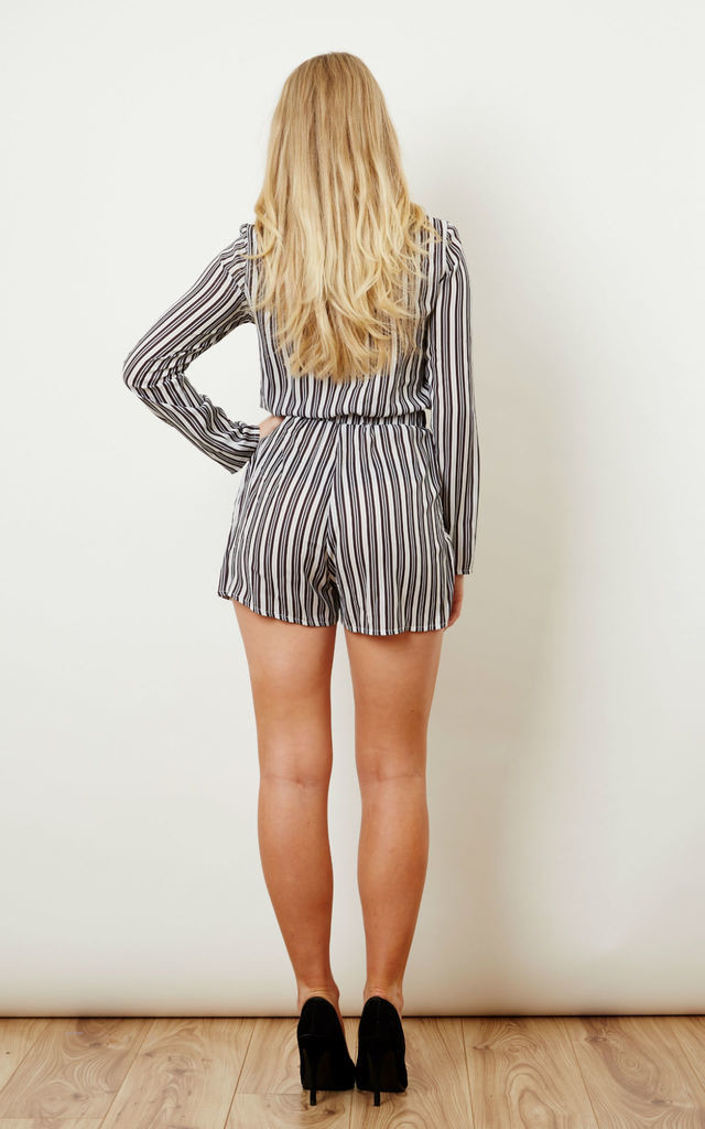 Stripe Tie Front Playsuit by Oh My Love