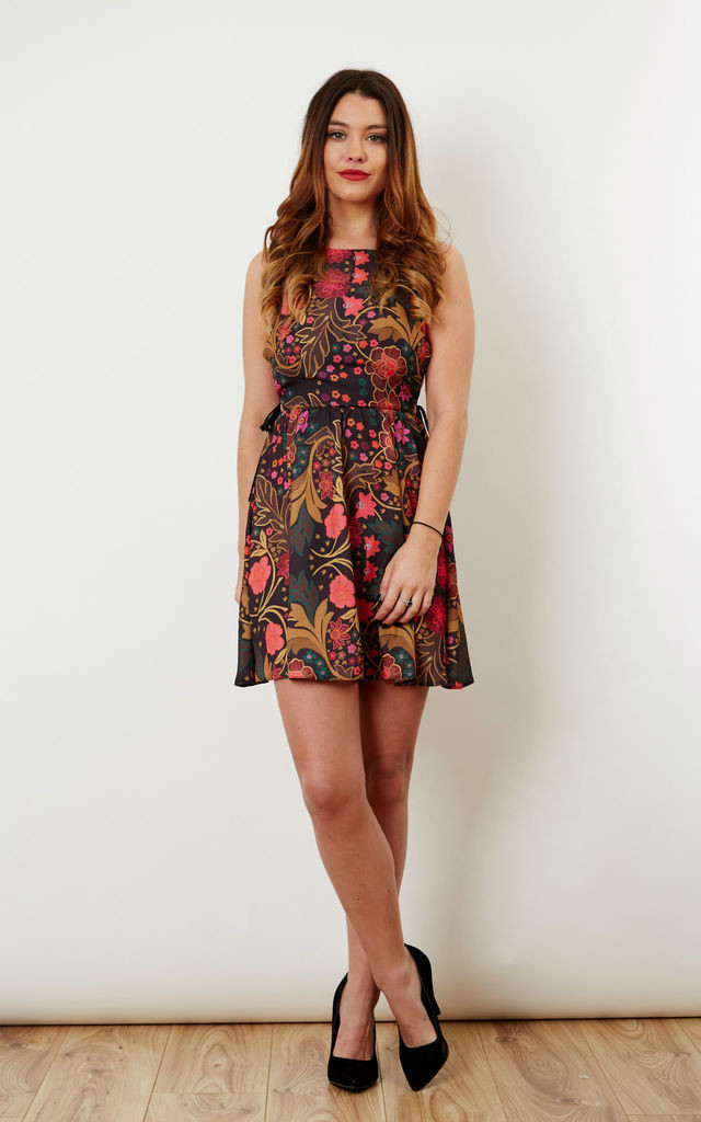 Printed Tie Side Dress Oriental Garden by Oh My Love