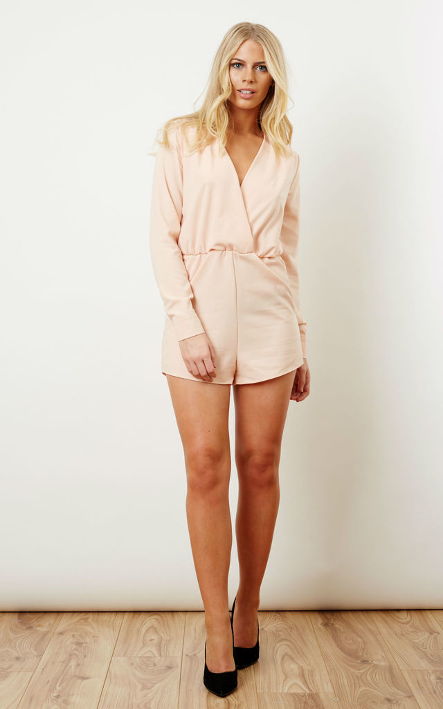 Baby Pink Wrap Playsuit Silkfred