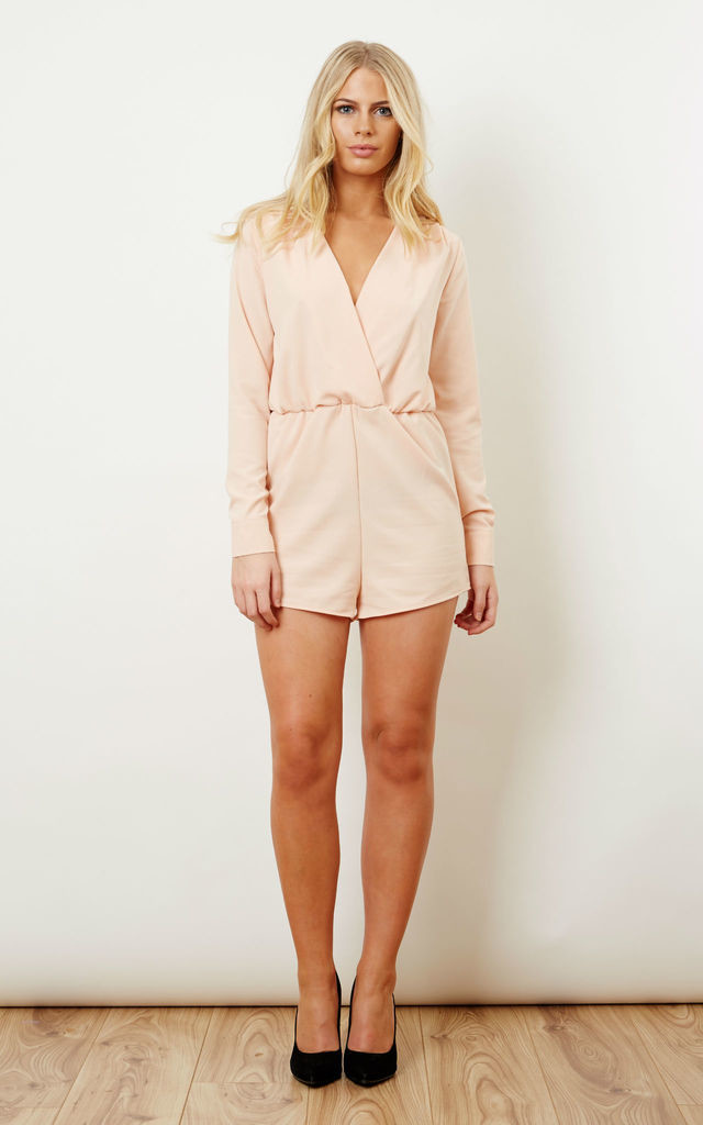 Baby Pink Wrap Playsuit by Oh My Love